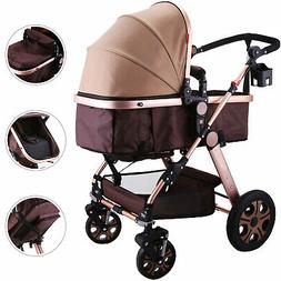 3 in 1 Luxury Foldable Baby Stroller High View Pram Pushchai