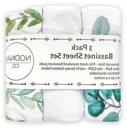 3 Pack Leafy/Floral Bassinet Fitted Sheet Set Cotton Baby Gi