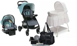 Graco Baby Stroller with Car Seat Bassinet Cradle Diaper Bag
