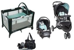 Baby Stroller Car Seat Playard with Bassinet Diaper Bag Set