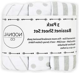 Bassinet Fitted Sheet Set 3 Pack 100% Jersey Gray Cotton For