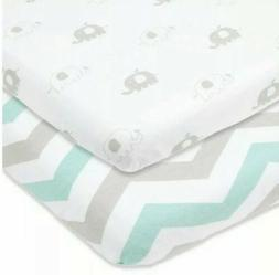 Cuddly Cubs Bassinet Fitted Sheets Set 2 Pack, Breathable Mi