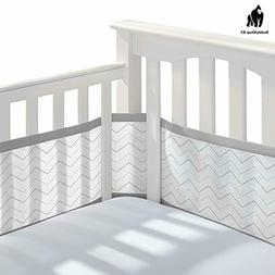 BreathableBaby Classic Breathable Mesh Crib Liner - Gray Che