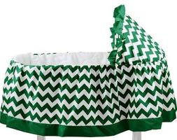 aBaby Chevron Short Bassinet Skirt, Green, Small - New - wit