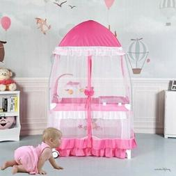 Playpen Baby Girl Crib Playard Travel Infant Bassinet Bed wi