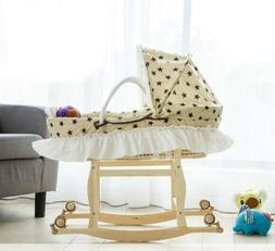 D37 Baby Moses Basket Bassinet Unvarnished+Wood Head Toe Roc
