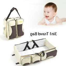 Foldable 3 in 1 Diaper Tote Bag Travel Bassinet Nappy Changi