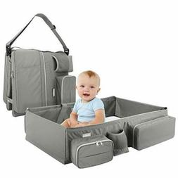 Zooawa Foldable Travel Bassinet, 3-in-1 Diaper Bag Portable