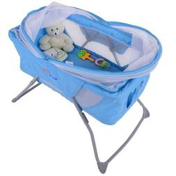 Foldable Lightweight Travel Baby Bassinet Rocking Bed w/ Mos