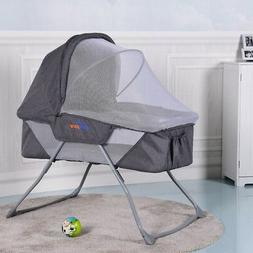 Home Baby Foldable Hot Gray Lightweight Bassinet Rocking Bed