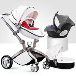 hot mom Baby Stroller 3 in 1 travel system Bassinet Combo Pu
