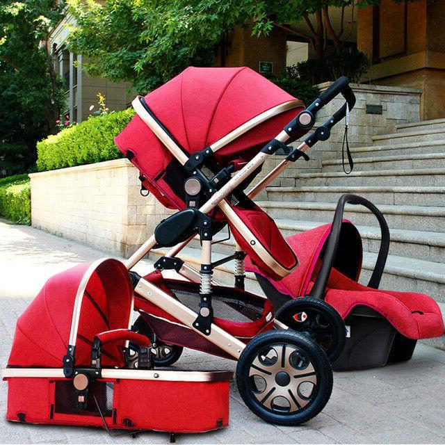 Portable Baby Stroller 3 in 1 High view carriage pushchair b