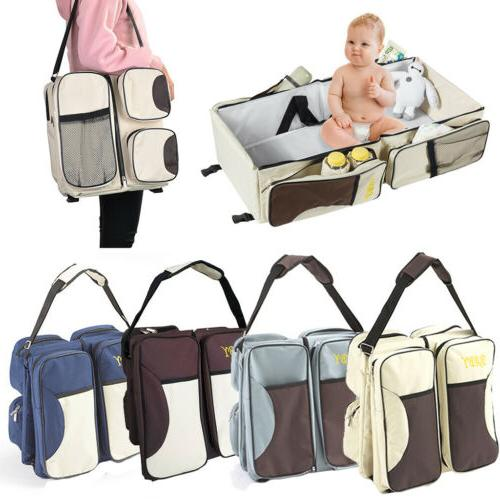 Portable 3in 1 Diaper Tote Bag Bassinet Nappy Changing Stati