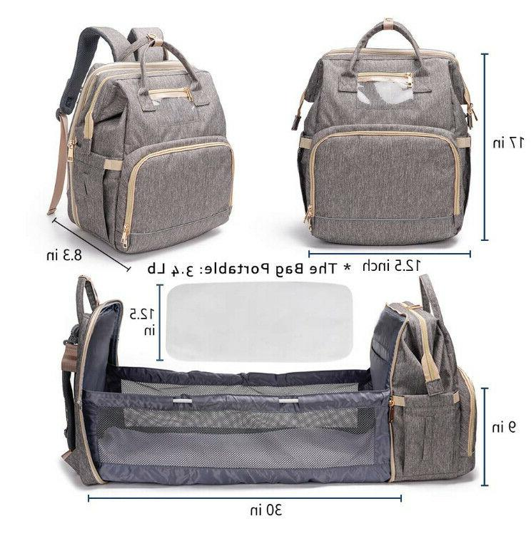 3 in 1 Bassinet Foldable Baby Diaper Backpack USB