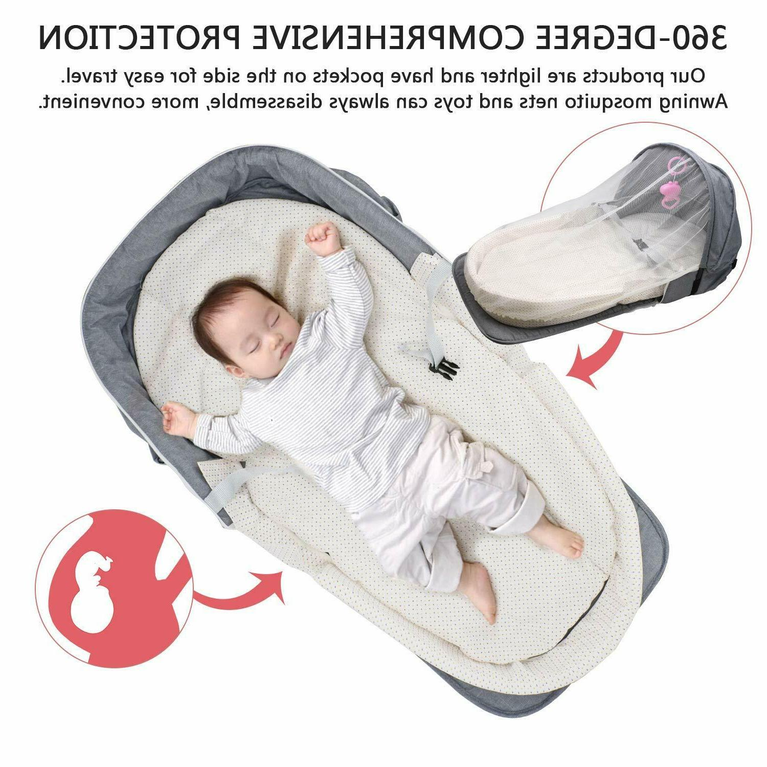 4 in 1 Portable Baby Bassinet Foldable Bed Infant Sleeper Tr