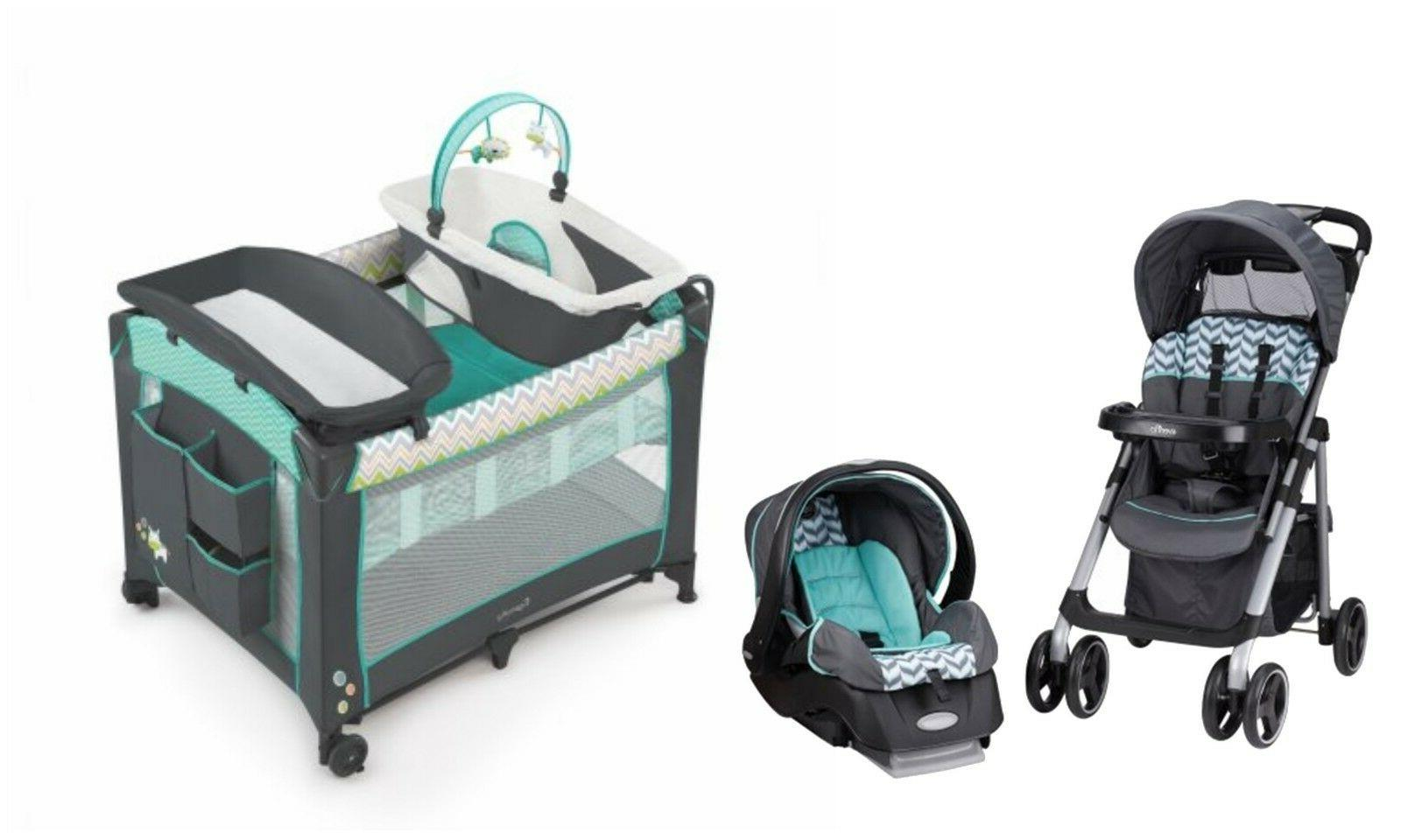 baby stroller with car seat play yard