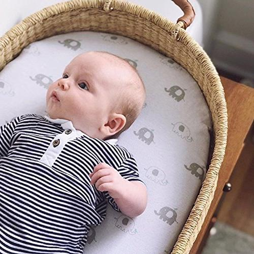 Bassinet Sheets 2 Pack for Boy & Girl | & 100% Jersey Fitted Design | Mint Grey Chevron & Oval, Halo, Chicco Arms Reach