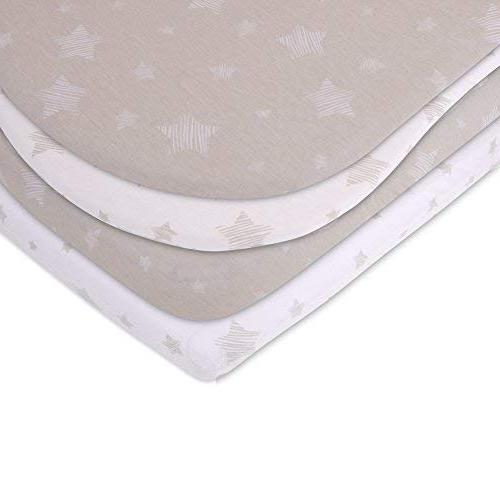 Bassinet Sheet Pack 100% for Baby Girl Baby & Tan Ely's Co.