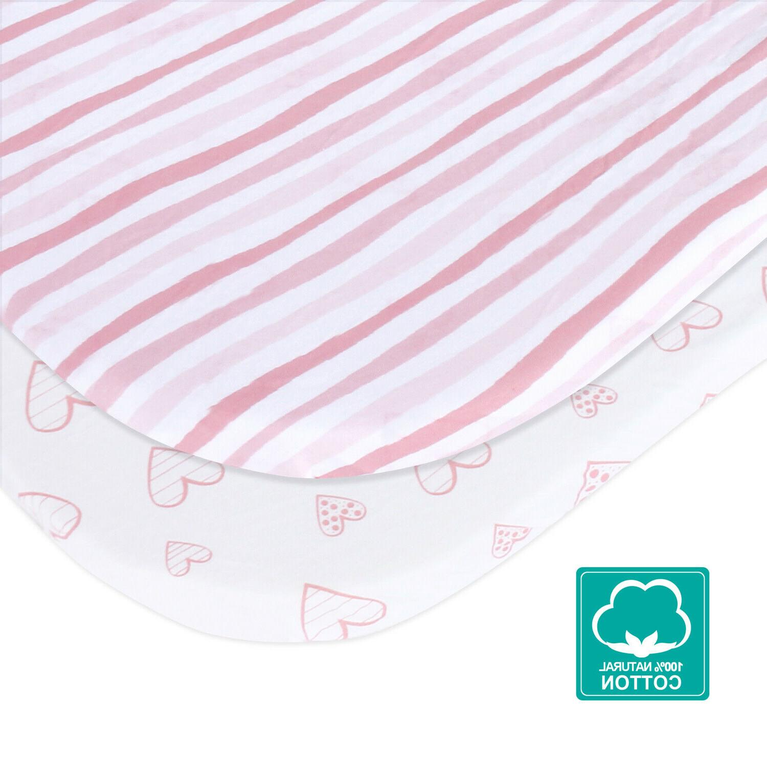 Knit Cotton Fitted Sheets for Baby Girls
