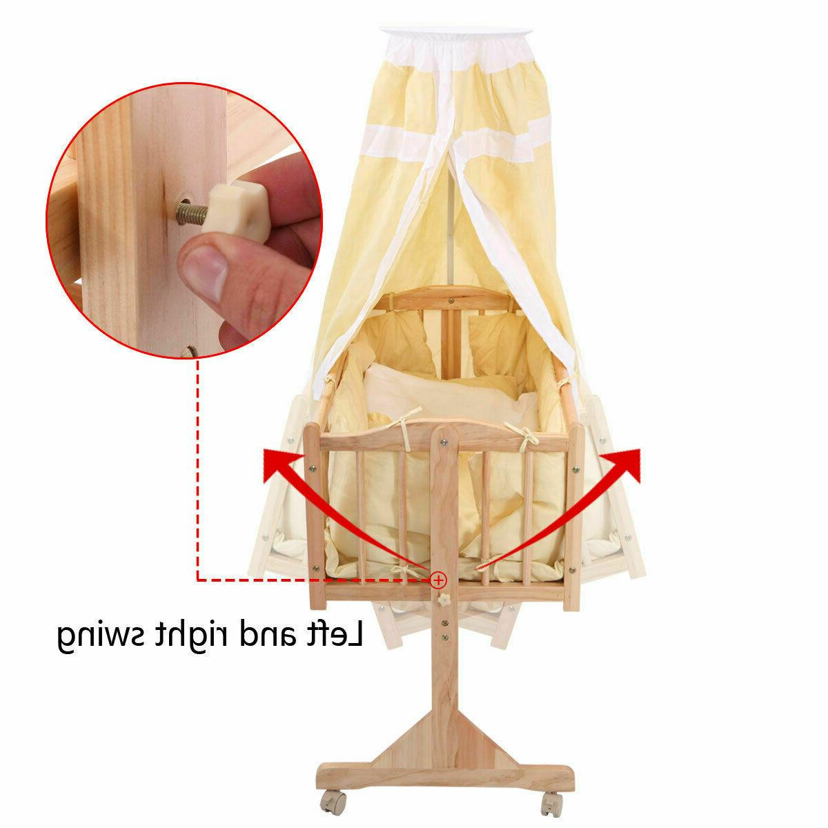 Crib Bed Wooden Natural Swings Furniture Miami