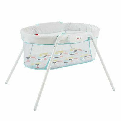 Fisher Price Vibrating Stow Baby Bassinet with Storage White