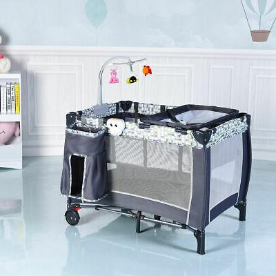 Crib and Pack N Sound Playpen Bassinet