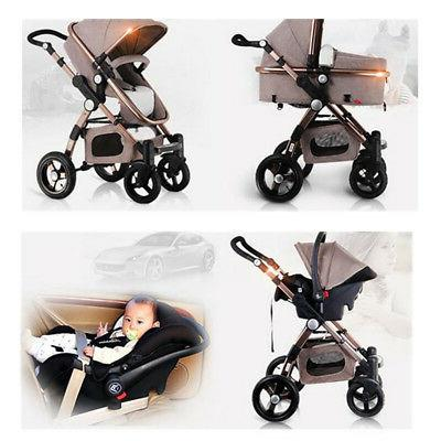 Khaki 3 in 1 Foldable Baby High View Car Seat