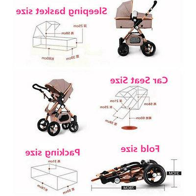 Khaki 3 in Foldable Baby Stroller High View Car