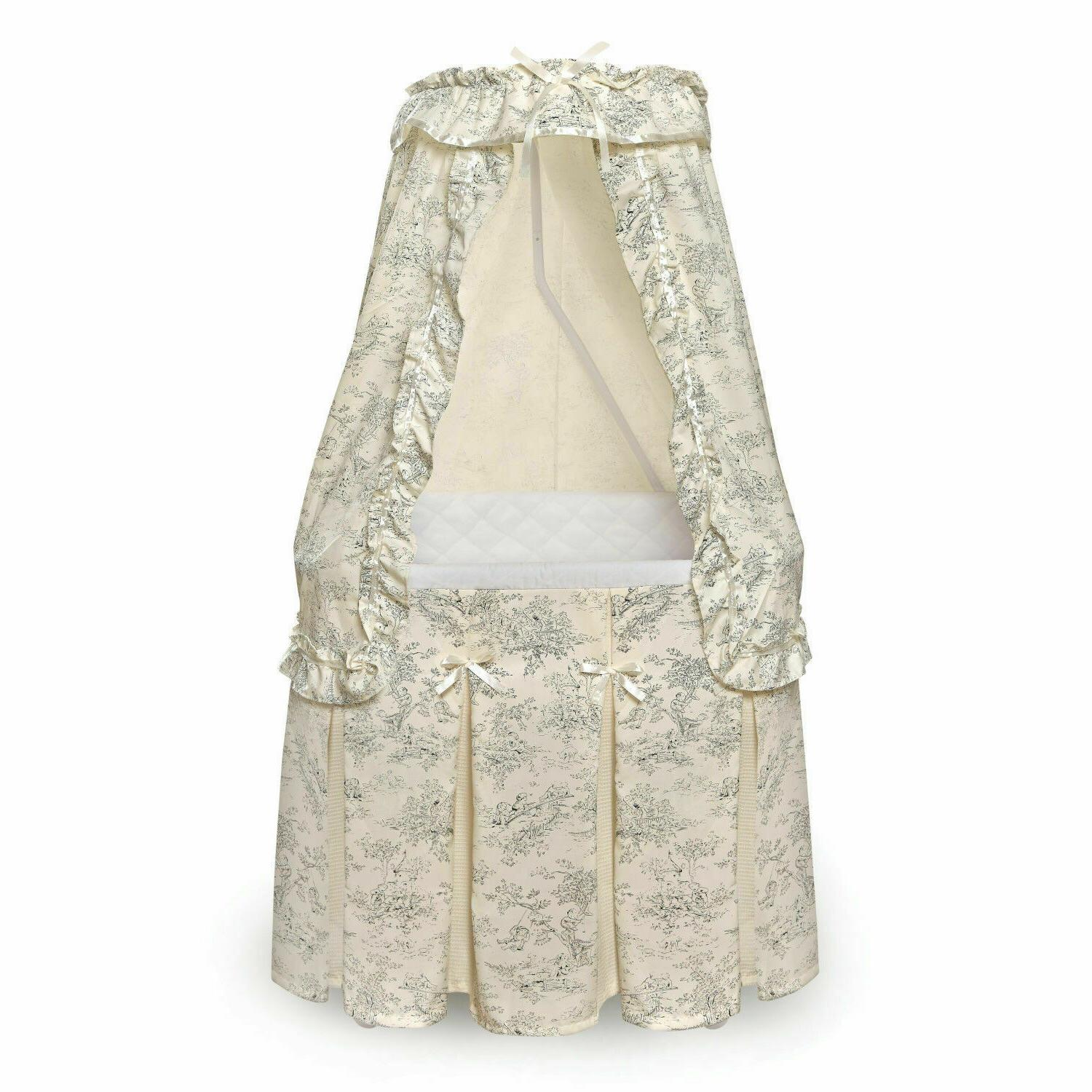 Majesty Baby Infant Bassinet w/Canopy & Black Toile Bedding