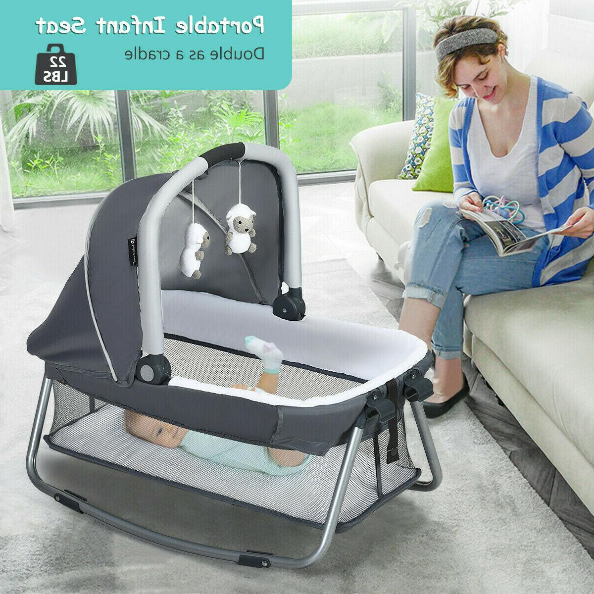 Mobile Baby Playpen Infant Playard Bed Cradle