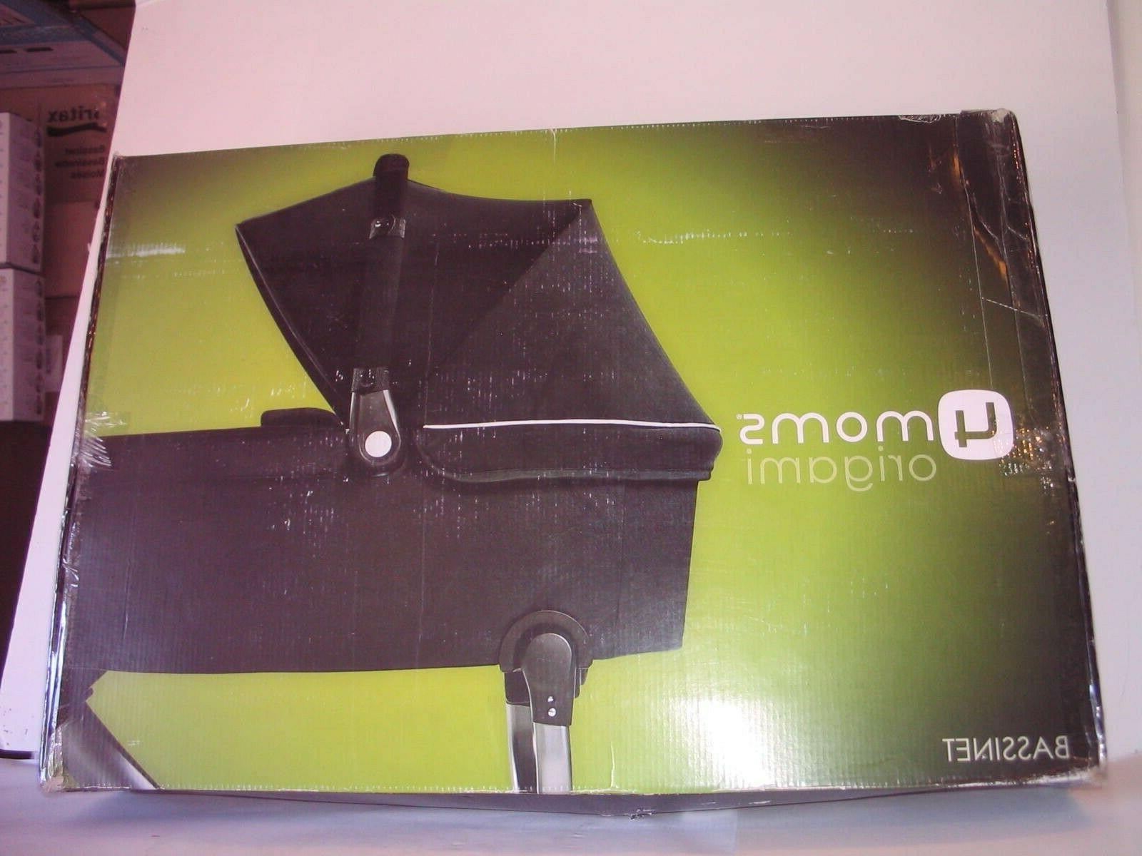 new origami bassinet in black and silver