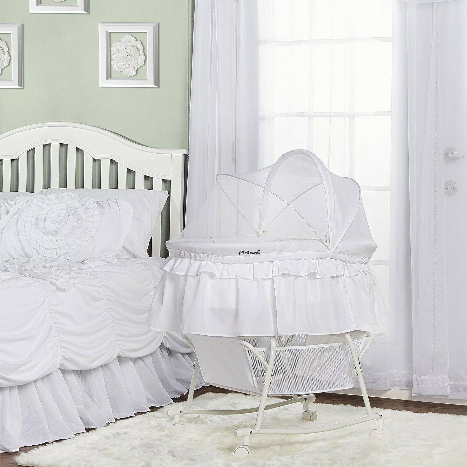Dream On Me Lacy White Plastic Portable 2-in-1 Bassinet And