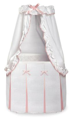 Majesty Baby Infant Bassinet w/Canopy & Pink & White Bedding