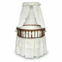 Badger Basket Round Cherry Bassinet With White Bedding