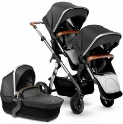 Silver Cross Wave Twin Baby Double Pram System Stroller w/ B