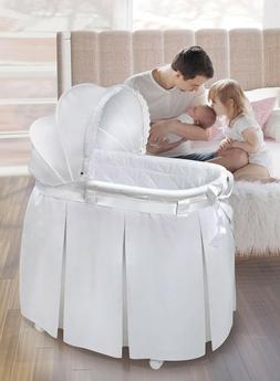 Wishes Oval Baby Infant Bassinet Full Length Skirt White Bed